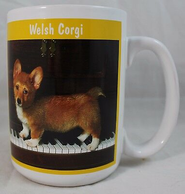 Welsh Corgi Puppy Picture On a Piano Coffee Cocoa Tea Cup Mug