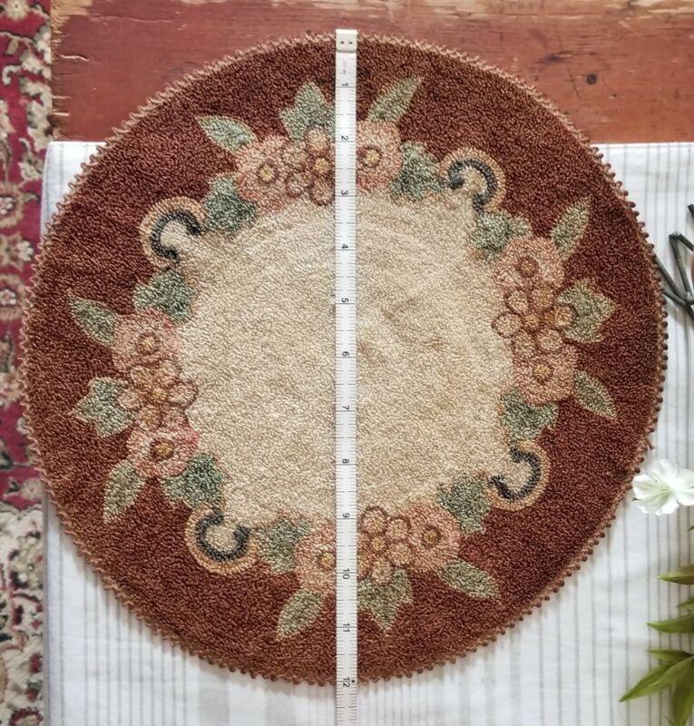 Vintage Japan Silk Dollhouse rug or table doilie brown peach green