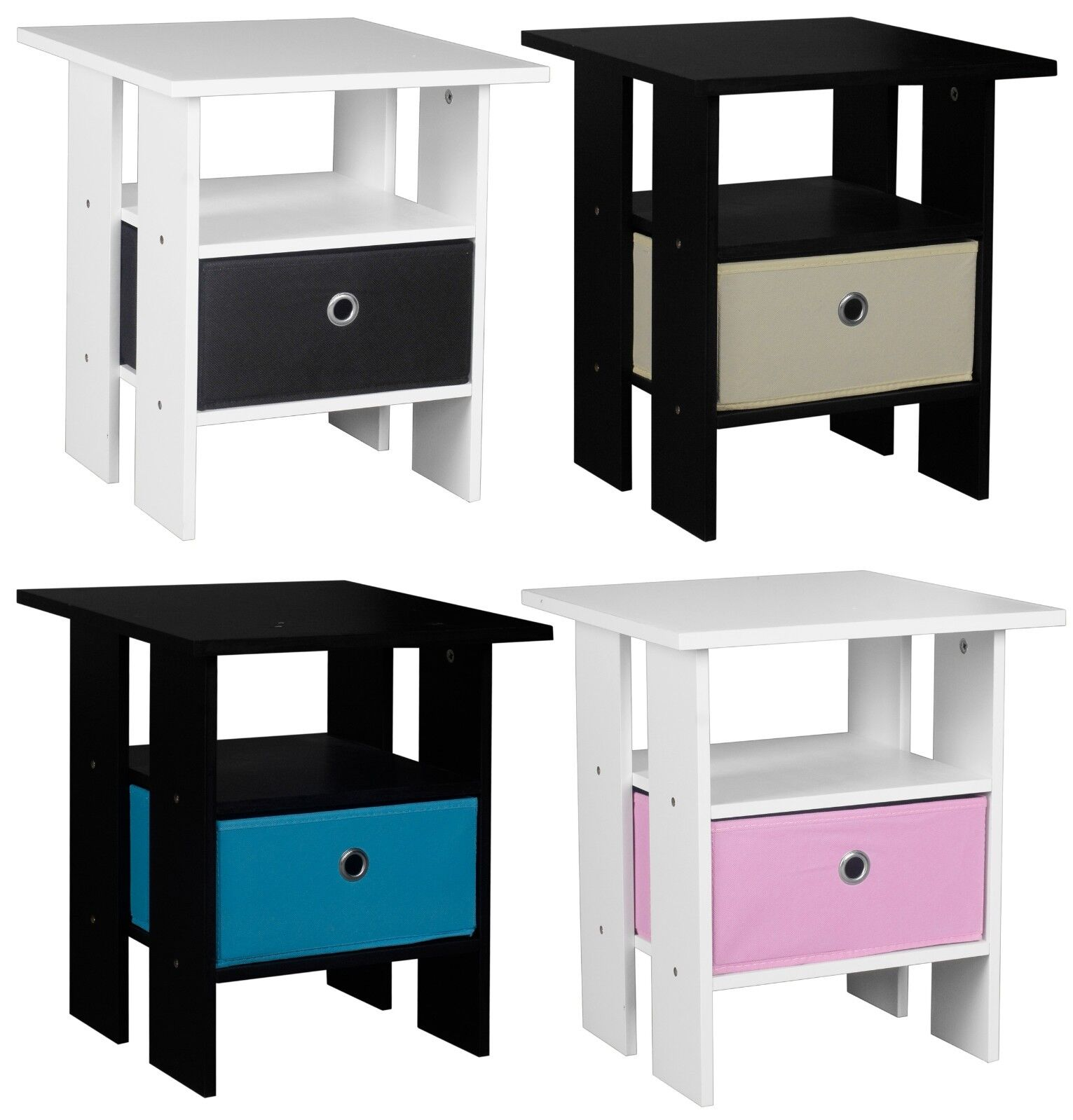 Black 2pcs 1 Drawer 2-Tier Wood Nightstand Cabinet End Table Side Table Bedroom