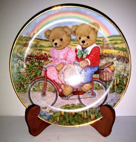 """Franklin Mint Heirloom Collection 8"""" Plate """"TANDEM TEDDIES"""" New"""