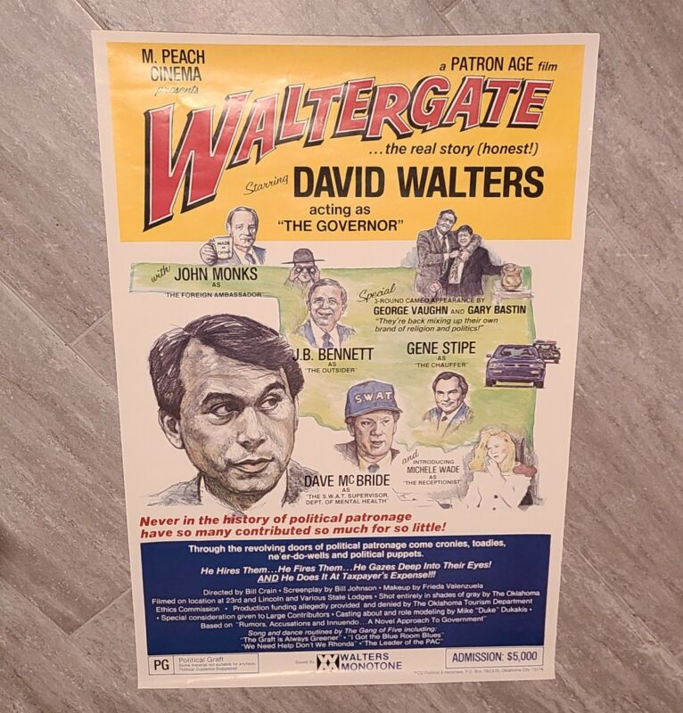 david walters oklahoma governor political poster, watergate satire 23x35