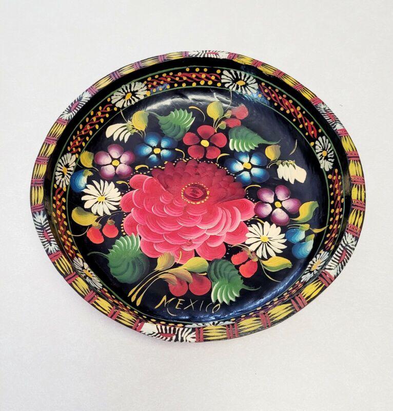 Vintage Mexican Batea Wooden Bowl Folk Art Hand Painted Black Flowers