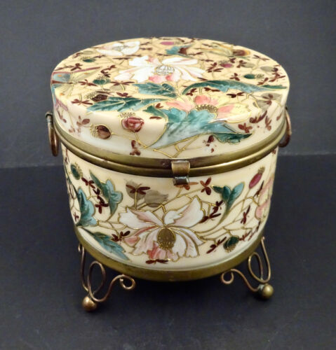 Antique Opaline Glass Jewelry or Dresser Box, Enameled