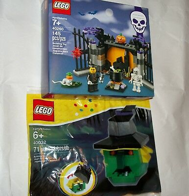 Lot LEGO Set 40260 Halloween Haunt w/2 Minifigures, 40032 Witch Head Trinket Box