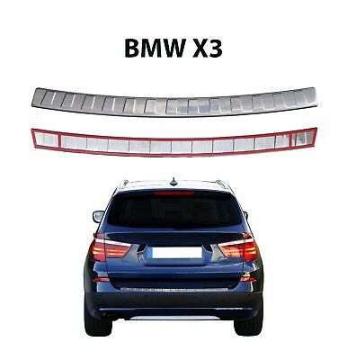 BMW X3 F25 2010-2017 CHROME REAR BUMPER SILL COVER PROTECTOR BRUSHED S.STEEL