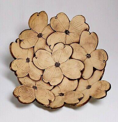 Dogwood flower handmade art pottery bowl artist signed Ragan 2014 Handmade Art Pottery