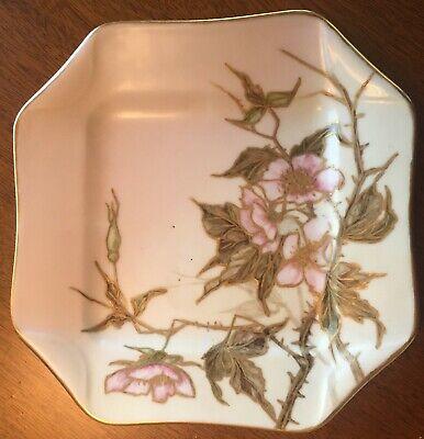 Antique 1889 Haviland & Co Limoges Napkin Fold Plate w Painted Gold Gilt Flowers