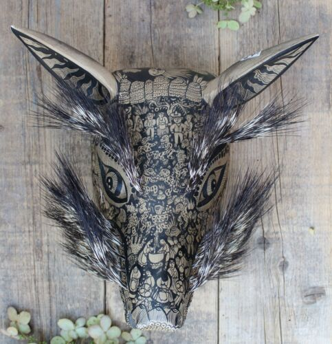Lg Coyote Mask Hand Painted Peasant Scenes Boar Hair Guerrero Mexican Folk Art