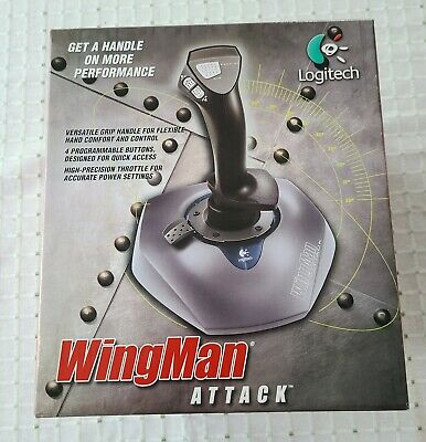 Vintage Logitech Wingman Attack PC Gaming Joystick 1999 Complete Never Used