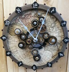 Steampunk Gears Wall Clock- Industrial- Machine Age- Handmade