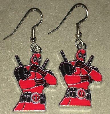 DEADPOOL Earrings Stainless Hook New ANTIHERO Superhero (D)