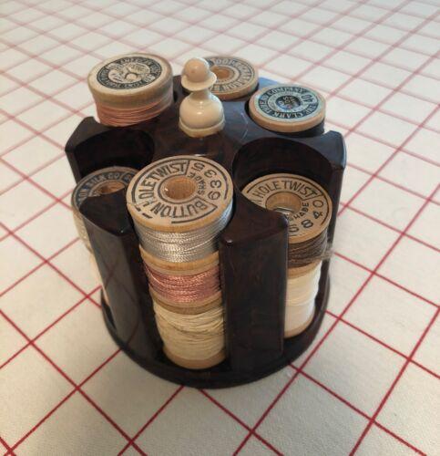 Vintage Bakelite Sewing Spool Thread Holder With 12 Wooden Spools Of Thread