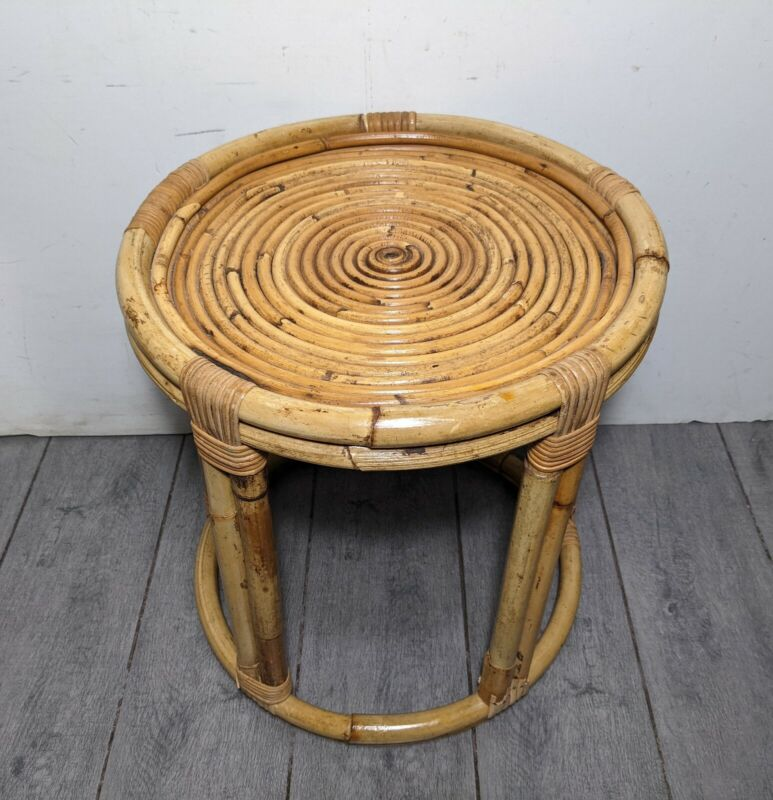 Vintage Round Bent Bamboo Rattan Spiral Table Plant Stand Boho Chic MCM Stool