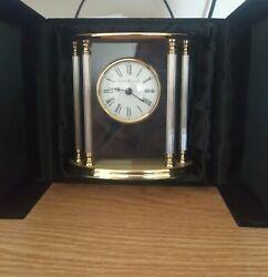 Brass Howard Miller Tabletop Clock, Velvet and Silk Gift Box