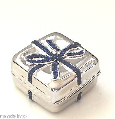 Yy Judith Leiber PillBOX Gift Wrapped IT's a BOY Blue Navy Silver NEW $499