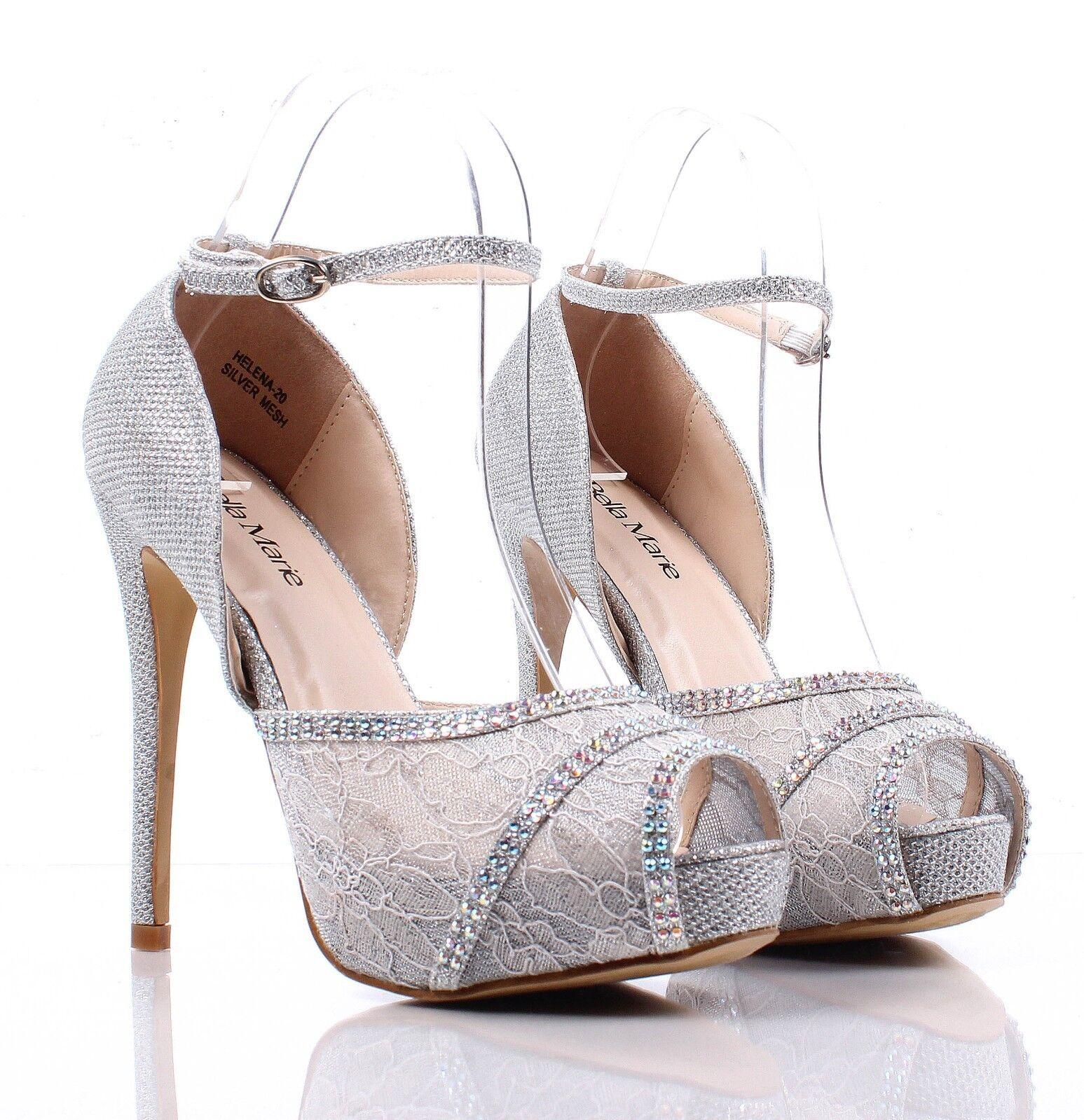 ... nn Open Toe Slingbacks Lace Womens 5'' High Heel Sandals Shoes Size 7