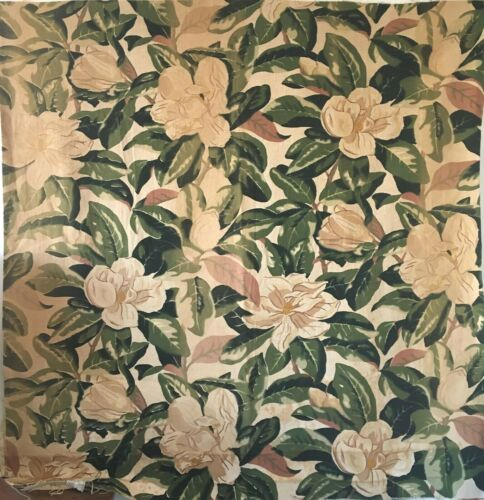Beautiful Mid 20th C. French Printed Linen Tropical Floral Fabric  (2910 )