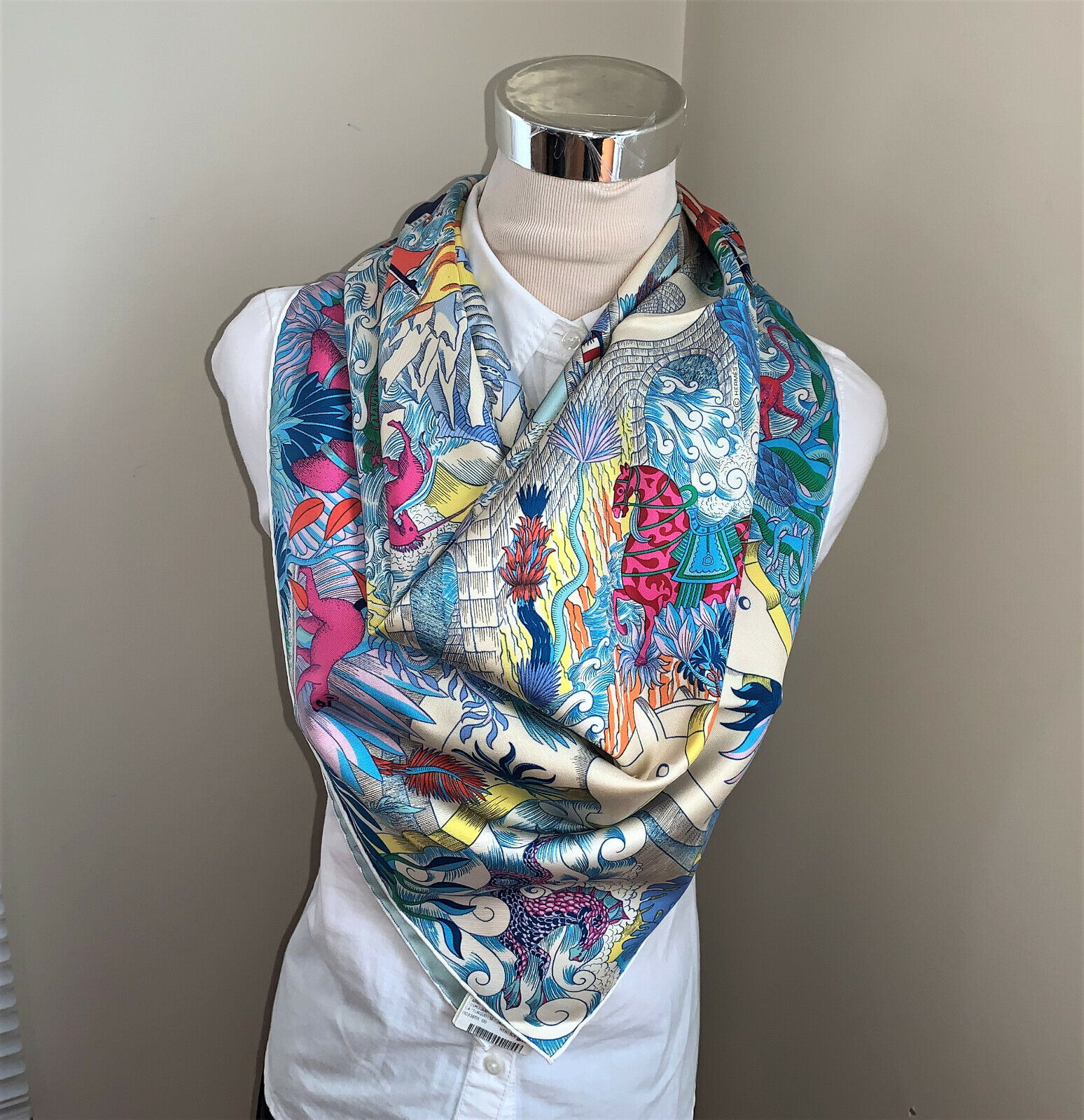 NWT Authentic Hermes Silk Blue Pink Yellow Grey Scarf Carre 90 Cosmographia