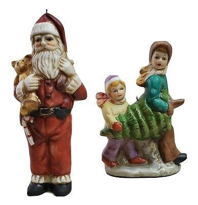 "Christmas Ornament Ceramic Retro Holiday Decoration 2 Pieces Santa Kids Tree 4"""