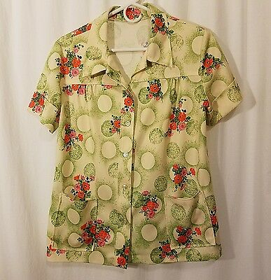 Vtg 60s 70s Mod Hippie Floral Polyester Button Down Front Pocket S/S Blouse M L