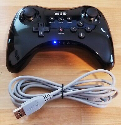 Official Nintendo Wii U Pro Controller WUP-005 Black with OEM Charging Cable