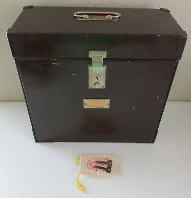 Vintage Mystrong Brown Metal Portable Expanding Office Storage File Wkeys