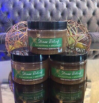 3 Bath & Body Works Aromatherapy STRESS RELIEF Eucalyptus Sugar Scrub 13 oz