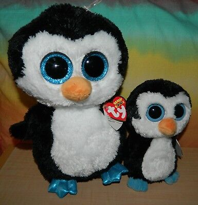 """Lot of 2 TY BEANIE BOOS NWT 6"""" 9"""" WADDLES Penguin"""