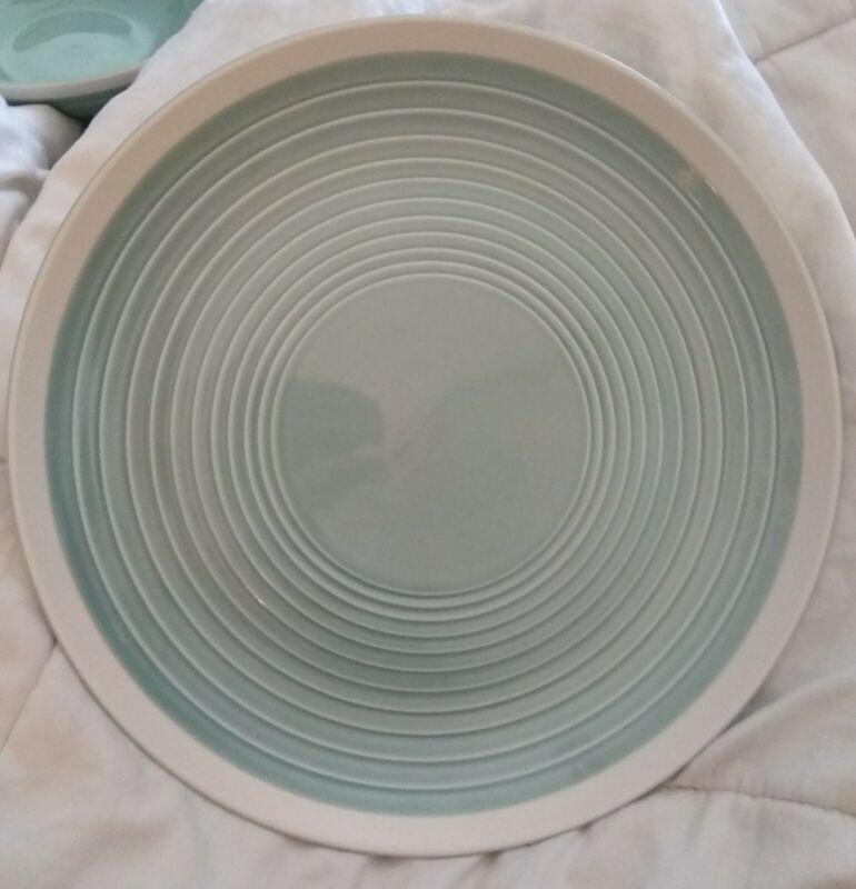 "Lot of 3: Sango RIO SEA FOAM 11"" Dinner Plates! Teal/Green/White, Embossed Rings"