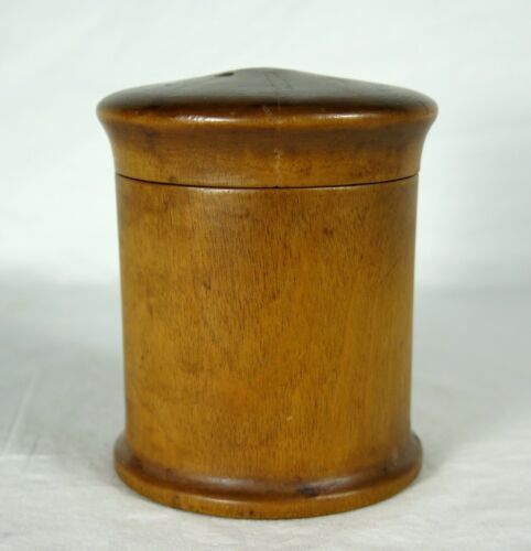 Antique TREEN Turned Wood Covered Box Dense Maple/Birch 4""
