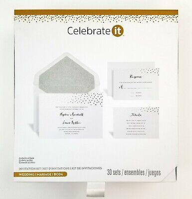 Celebrate It Wedding Invitation Kit Set of 30 Invites & RSVP. Silver & White