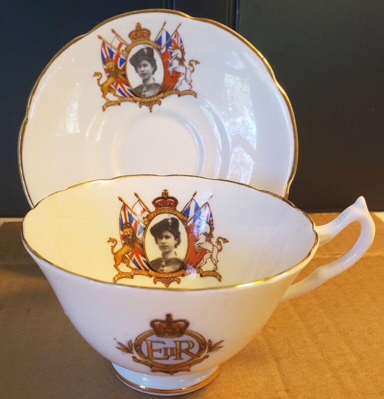 1953 Queen Elizabeth II Coronation Tea Cup / Saucer Collingwoods Bone China