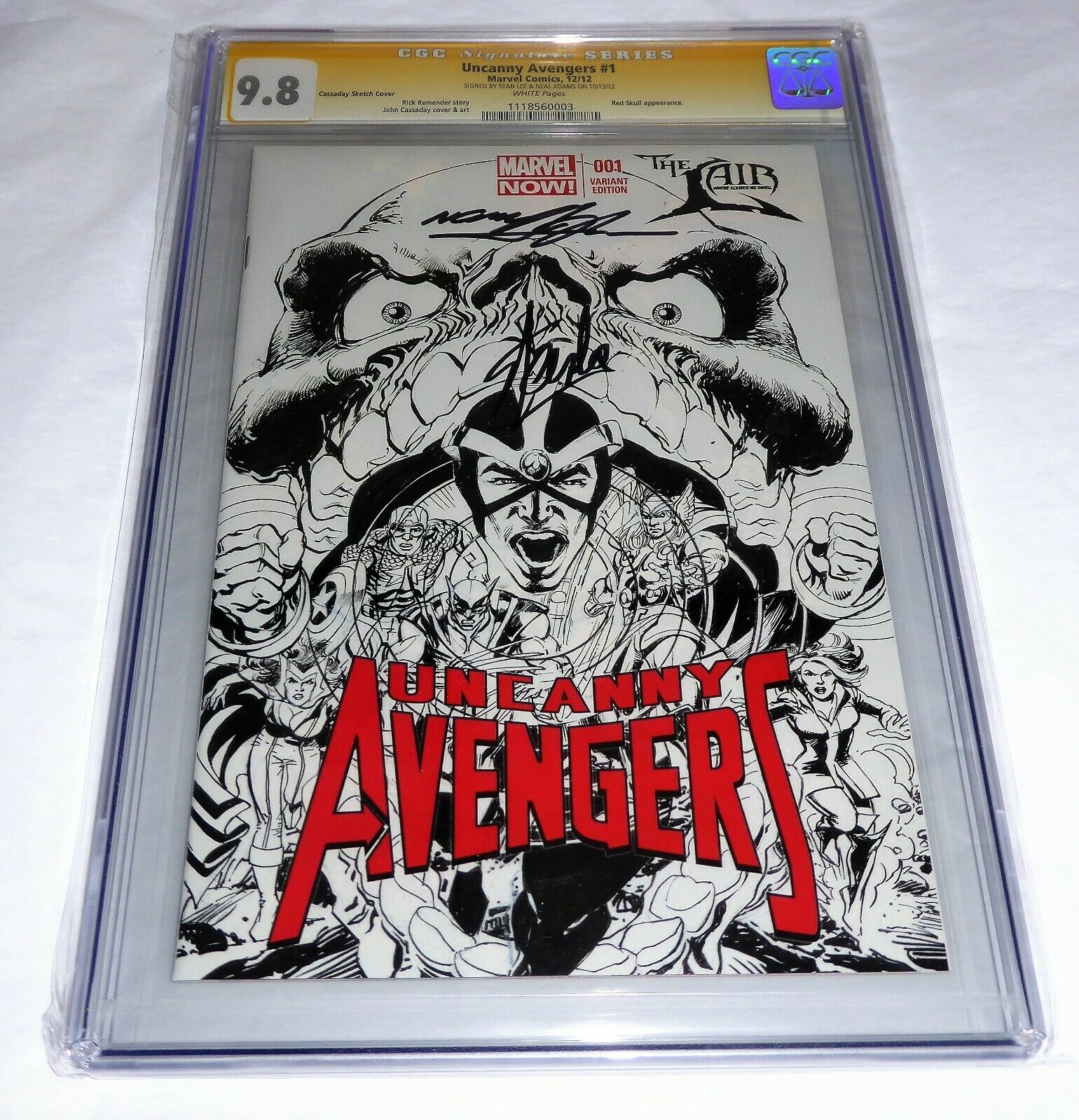 Uncanny Avengers #1 CGC SS 9.8 Dual Autograph STAN LEE NEAL ADAMS Red Skull Book