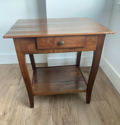 French Antique Cherry Side Table with Lower Shelf 1890s