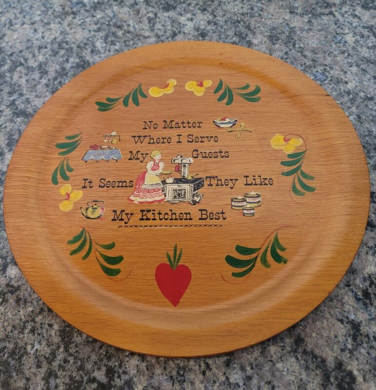 """Vintage Wooden Kitchen Plaque Tray Hand Painted Woodcroftery Shop  1954 USA 12"""""""
