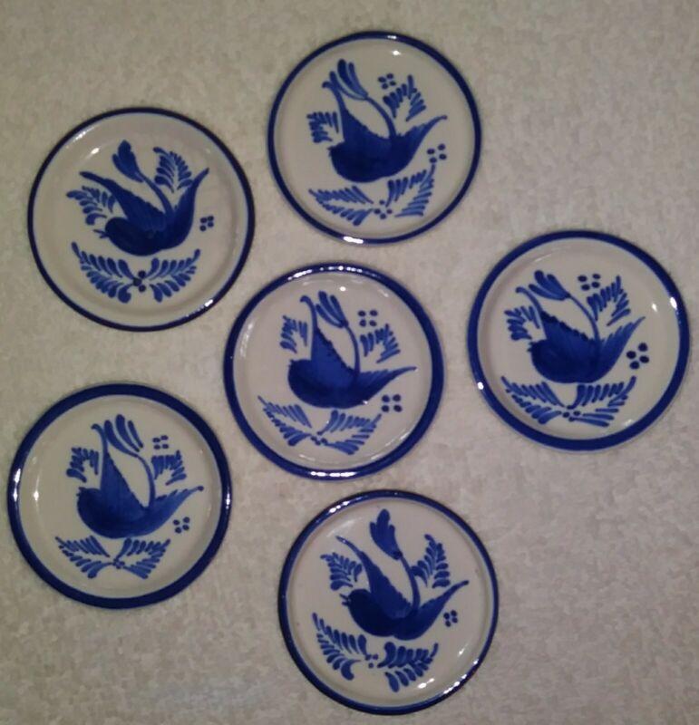 Ceramic Blue & White Hand-Painted Blue-birds Butter Pat Condiment Dish Set of 6