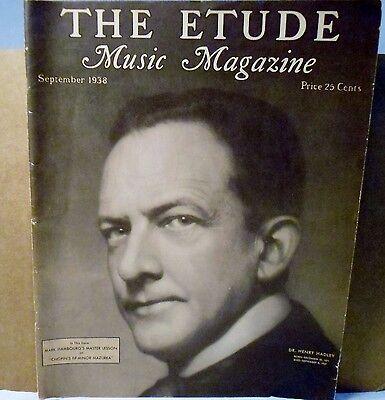 Vtg Etude Music Magazine September 1938 Volume LVI No. 3 For Lovers of Music