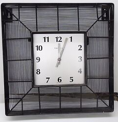 CONTEMPORARY BLACK GRID IRON 16  SQUARE WALL CLOCK MADE BY THE HERMLE CLOCK CO