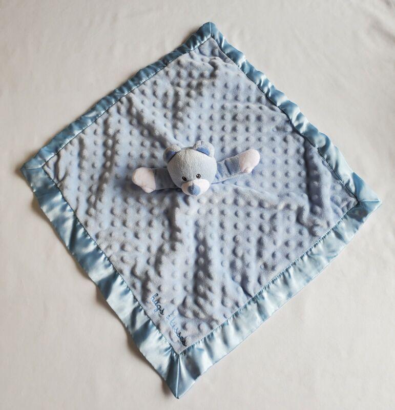 Baby Starters Blue Bear Rattle Security Blanket Lovey Hugs Kisses Minky Dots
