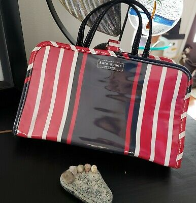 Kate Spade Cosmetic/Jewelry Travel Bag Large Red White Blue Stripes