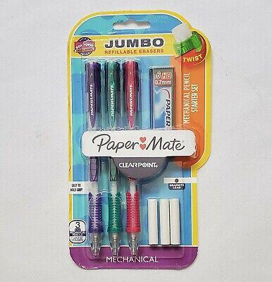 Paper Mate Mechanical Pencil Starter Set Wjumbo Refillable Erasers Sealed C42