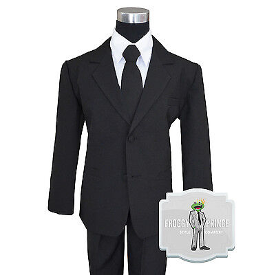 Boys Suit Black Tuxedo Infant to Teen Sizes 2 3 4 5 6 7 8 10 12 14 16 18 20  - Black Boys Suits