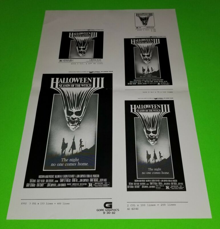 Halloween 3 Season of the witch original Add Campaign print Gore Graphics 1982