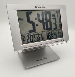 Brookstone Digital Radio Controlled Alarm Clock Thermometer Hygrometer Calender