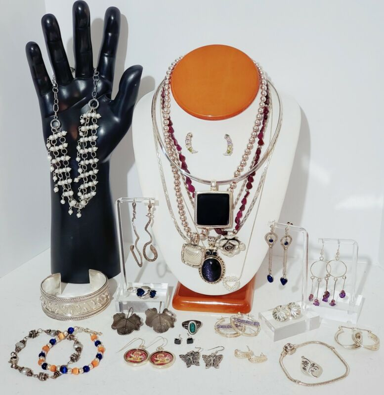 Sterling Silver 925 Jewelry Lot Necklaces, Bracelet, Earrings, Rings, 296 grams.