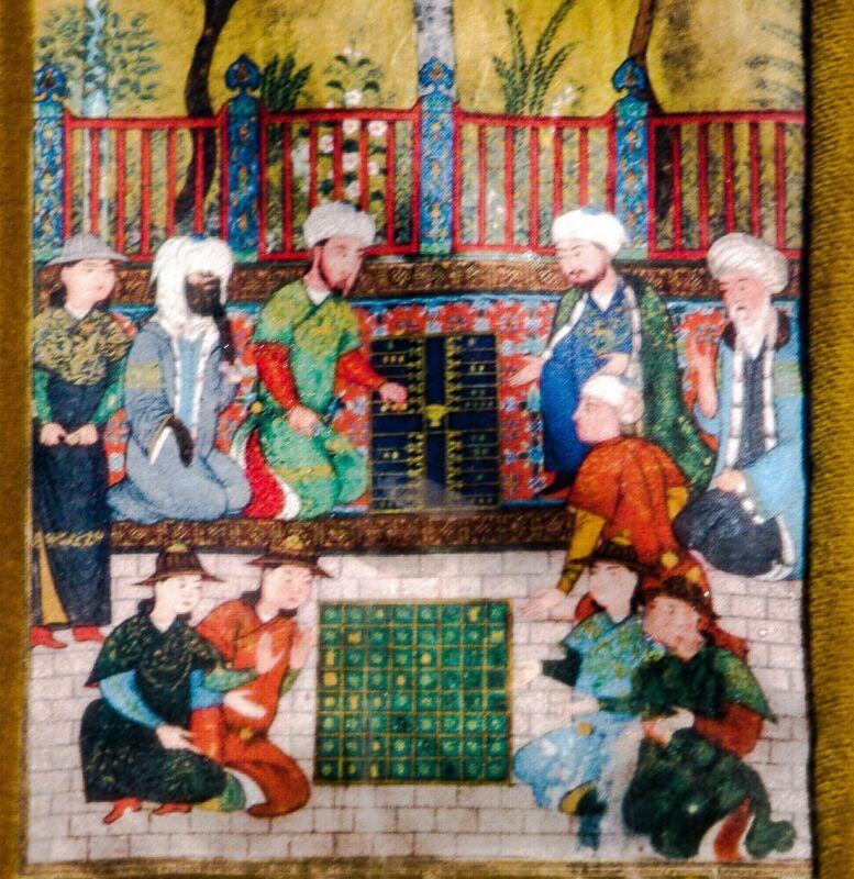 Antique Framed Asian Hand-painted Manuscript Scene  Gouache