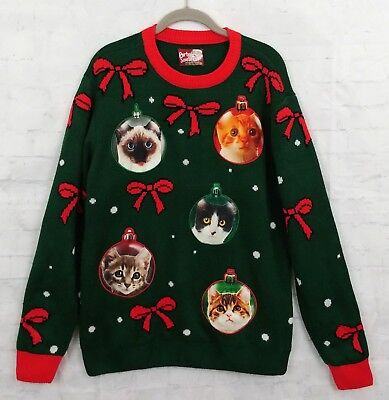 Ugly Cute Christmas Cat Ornaments Sweater womens XL EUC - Ugly Ornaments