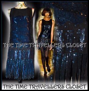 KATE MOSS TOPSHOP BLACK BLUE SEQUIN STRAND FLAPPER DRESS VTG ROARING 20s UK 8 10