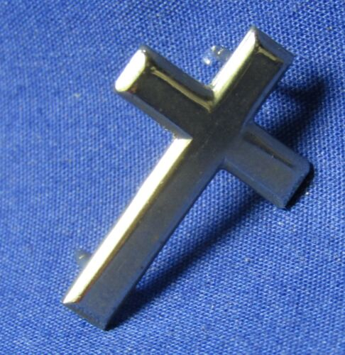 WWII Sterling Army Chaplain Christian Cross Insignia With Sterling Clutches
