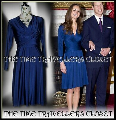 NEW Issa London Navy Blue Wrap Knee Royal Engagement Dress ASO UK 12 40 8 Petite